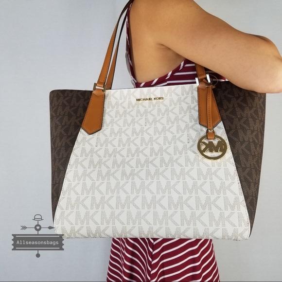 0a4fd745e193a Michael Kors Kimberly Large bonded brown tote bag